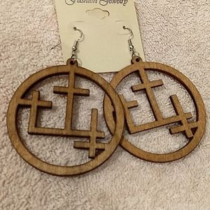 NWT wooden cross earrings